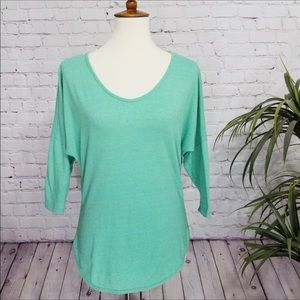C&C CALIFORNIA 3/4 sleeve high low hem blouse